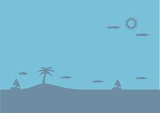Peaceful Island in Ocean Blue Vector Background Illustration Royalty Free Stock Images