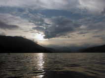 Peaceful Lake of Pokhara Surrounded by Hills Royalty Free Stock Image