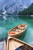 Peaceful lake scene at Lago di Braies. Royalty Free Stock Images