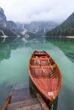 Peaceful lake scene at Lago di Braies. Royalty Free Stock Photo