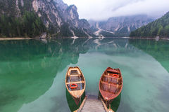 Peaceful lake scene at Lago di Braies. Dolomites, Italy Stock Images