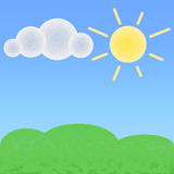 Peaceful land with cloud and sun. Optimistic summer landscape with place for text. Royalty Free Stock Photography