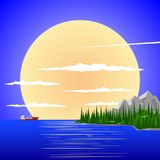 Peaceful landscape against the backdrop of the setting sun. royalty free illustration