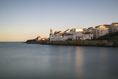 Peaceful landscape image of Mediterranean style seaside village Stock Photos
