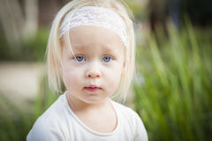 Peaceful Little Girl Portrait Outside Royalty Free Stock Photo