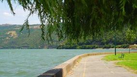 Peaceful look at the Danube bay from Donji Milanovac towards Romania border. Peaceful look at the Danube bay from Donji Milanovac towards Romania border stock footage