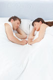 Peaceful lovers sleeping together Royalty Free Stock Images