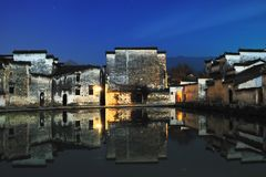 Peaceful macro village. NWinter night, cold and quiet, beautiful old village macro village quiet Stock Photography