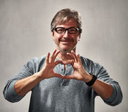 Peaceful man with heart Royalty Free Stock Photo