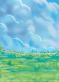 A drawing of a peaceful scenery Royalty Free Stock Photo