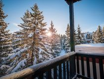 Peaceful Morning in Courchevel 1850, France. Calm sunrise in the French alps after heavy snowfall in Chamonix region, France Stock Photography