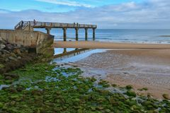 Peaceful morning on Omaha Beach royalty free stock photo