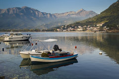 Peaceful morning on Thassos island. Tranquil landscape view of the village of Skala Potamia and the mountains behind on the island of Thassos, Greece Stock Photography