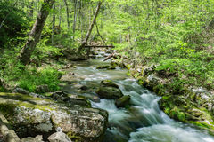 Peaceful Mountain Stream. A scenic view of a peaceful woodland stream with footbridge in the background located in the Blue Ridge Mountains of Virginia, USA Royalty Free Stock Images