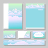 Peaceful mountains in winter. Highlands landscape, vector background for booklet, flyer, outdoor advertising, brochure, banner, book cover. Colorful mountain Stock Photos