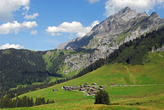 A peaceful moutain village. Taveyanne, a small mountain village with wooden cottages in Switzerland Royalty Free Stock Images