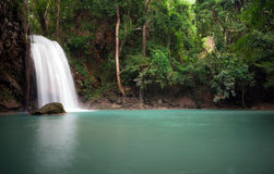 Peaceful nature background of waterfall in forest Stock Photos