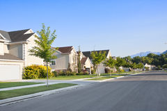 Peaceful Neighborhood. A peaceful, quiet street in a middle-class North American neighborhood Stock Images