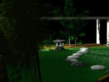 Peaceful night. A japanese garden by night royalty free illustration
