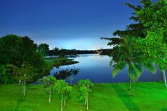 Peaceful night at Lower Seletar Reservoir Stock Photo
