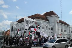 PEACEFUL ORGANIZATION DEFENDS PALESTINE IN YOGYAKARTA, INDONESIA stock image