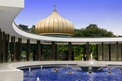 Peaceful Oriental Garden. In Kuala Lumpur with blue fountain royalty free stock image
