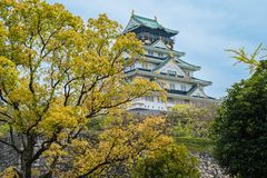 Peaceful Osaka Castle in osaka Japan in summer. green tree in the park outside the tall rock wall of palace. blue sky good weather. With historical japanese stock photography