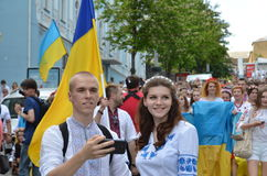 Peaceful parade in the Ukrainian capital Royalty Free Stock Image