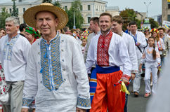 Peaceful parade of the Ukrainian embroideries Royalty Free Stock Photo