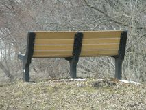Peaceful Park Bench At Rural Park Stock Photo