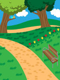 Peaceful park with a bench and trees. Vector illustration of a peaceful park with trees, grass, tulips and a bench stock illustration