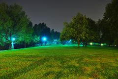 Peaceful park by night Royalty Free Stock Photo