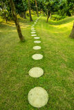 Peaceful path in a green park Stock Photo