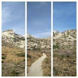 Peaceful path through mountains. Path in Marseille & x28;France& x29; in the mountains stock photos