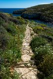 Scenic Nature Landscape Path at Mgarr ix xini stock images