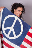 Peaceful Patriotic Woman Stock Photo