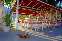 Peaceful pavement seating Greece Royalty Free Stock Images