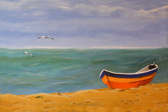 Peaceful place. Oil painting on canvas of a beach scene with boat and birds in the sky Royalty Free Stock Photos