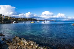A beautiful evening at Armadale Harbour, Isle of Skye, Scotland stock images