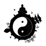 Peaceful planet with yin yang symbol Royalty Free Stock Photography