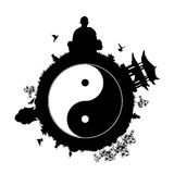 Peaceful planet with yin yang symbol Stock Photo