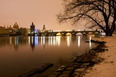 Peaceful Prague Panorama. Early morning on the bank of Vltava river in Prague Royalty Free Stock Images