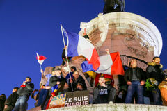 Peaceful protest in Place de la Republique Stock Image