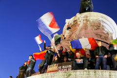 Peaceful protest in Place de la Republique Royalty Free Stock Photo