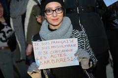 Peaceful protest in Place de la Republique Royalty Free Stock Images