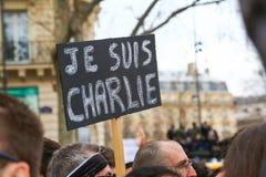 Peaceful protest in Place de la Republique Royalty Free Stock Photos