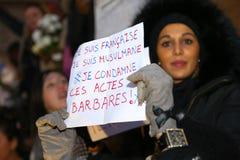 Peaceful protest in Place de la Republique Stock Photos
