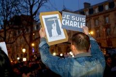 Peaceful protest in Place de la Republique Royalty Free Stock Photo