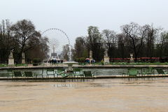 Peaceful,rainy day at The Tuileries and Carousel Gardens,The Louvre,Paris,France,2016 Stock Photography