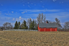 Peaceful Red Barn in the Countryside Iowa, USA Stock Photo